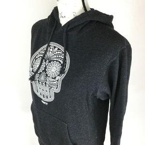 OBEY Women's Skull Drawstring Cotton Blend Sweater